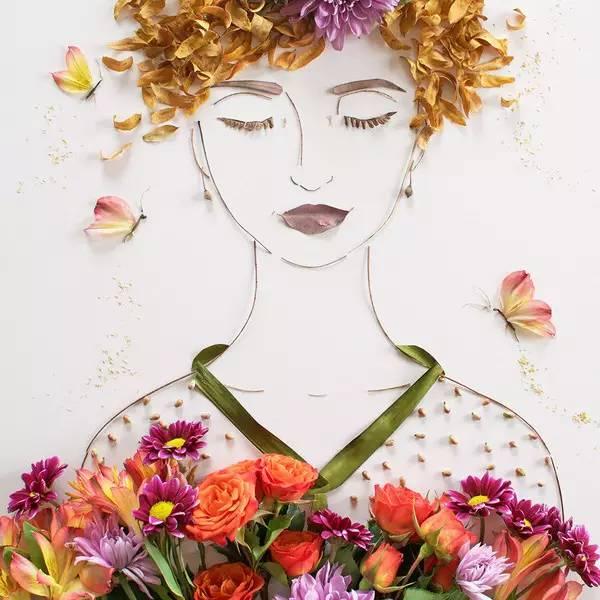 用枯枝和花作画,大自然是最好的画笔