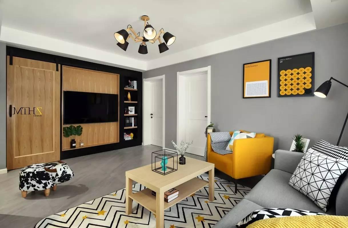 80平现代温馨两室,谷仓门的优秀利用