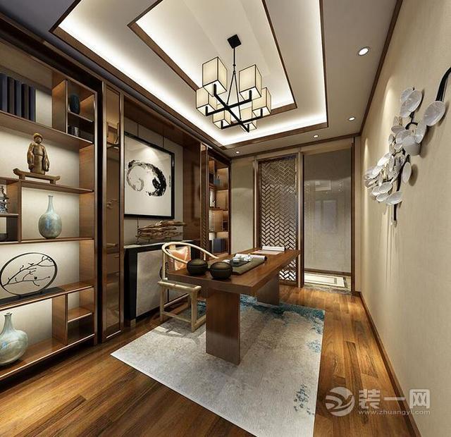 南昌香逸熙园小区新中式风格三居室装修效果图,客厅电视背景墙两边图片