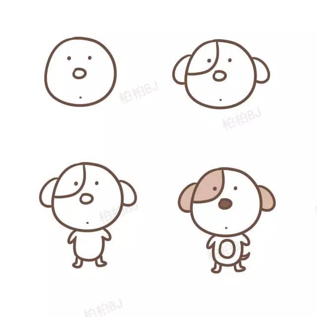 宝宝最喜欢的小狗简笔画,教学起来简直不要太简单