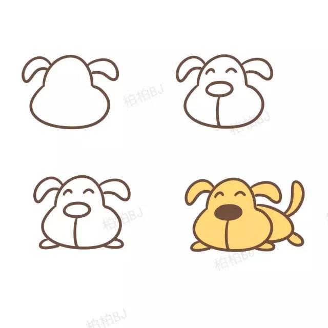 宝宝最喜欢的小狗简笔画,教学起来简直不要太简单!