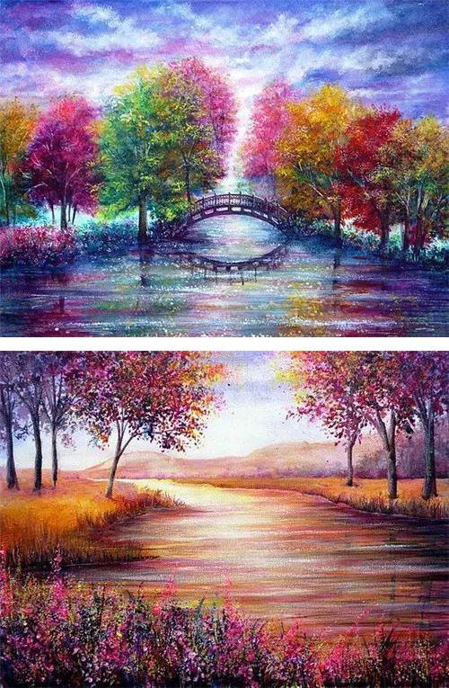 美爆了的丙烯颜料风景画,不看看吗
