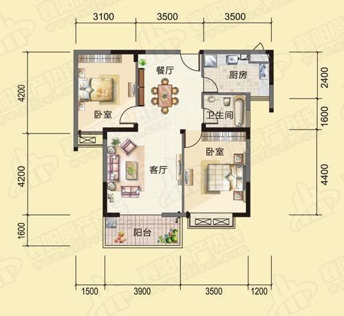 45平一室改两室平面图