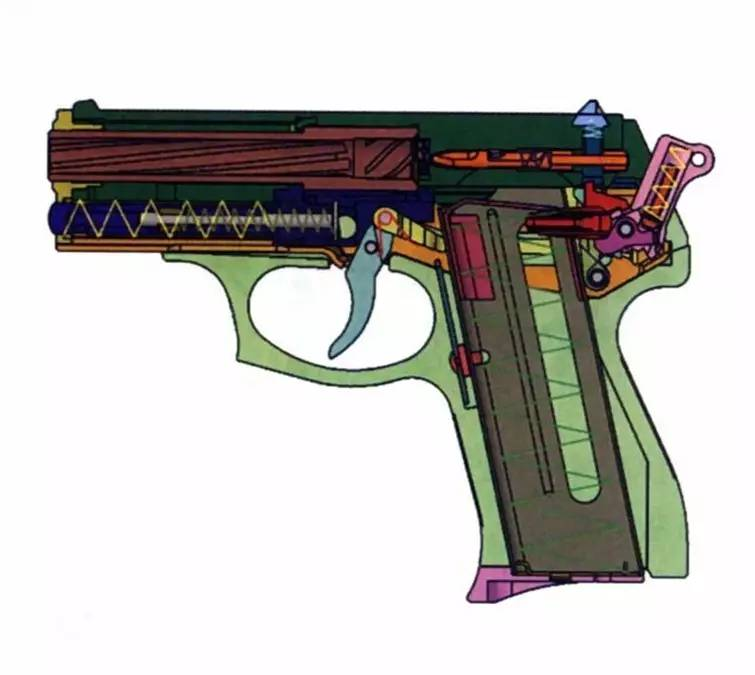后仓击锤_扳把置于保险位置时,可同时锁住击锤和枪机,这时击锤压不倒,枪机拉不