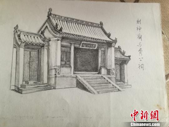 曹建成手绘的财神庙. 张林虎 摄