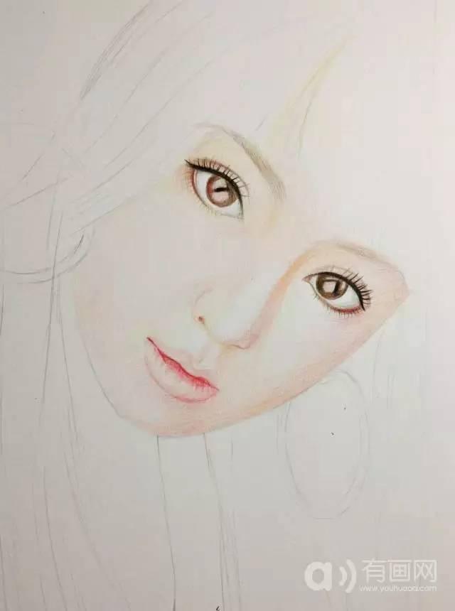 彩铅人物画:手绘大明星美女教程步骤图示