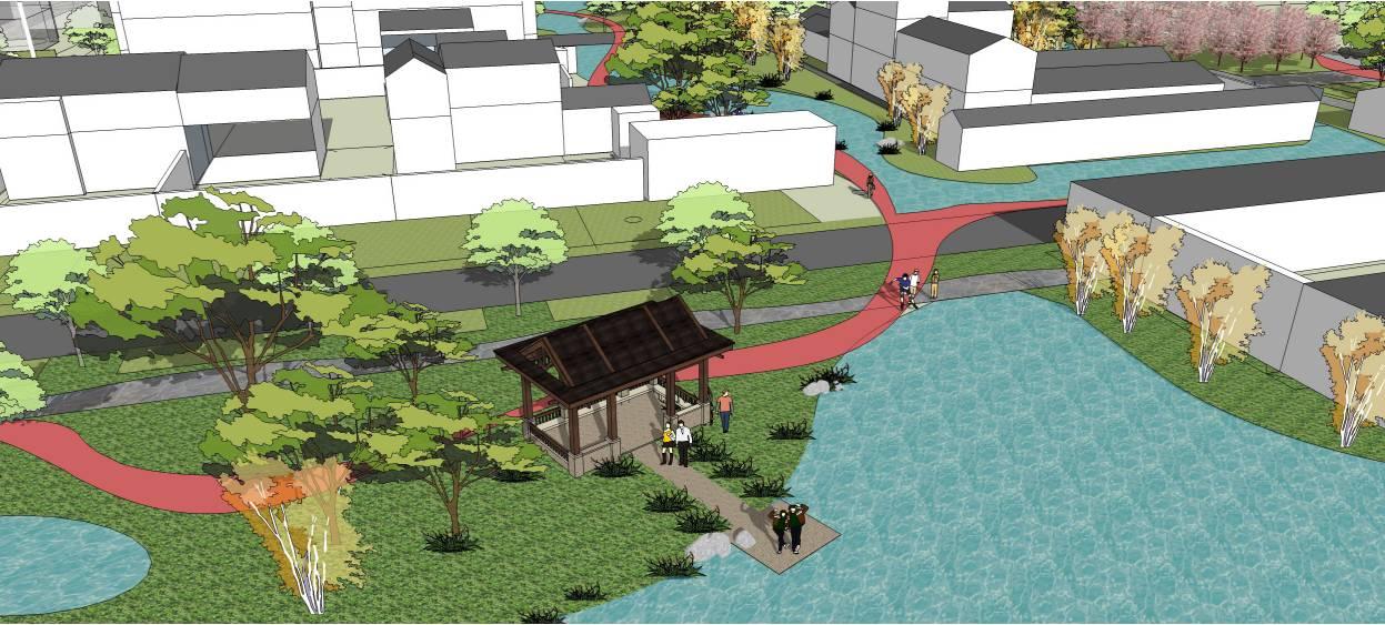 改造后将原花池扩大,并由村里统一砌筑花坛,种植灌木,树木等,增加景观图片