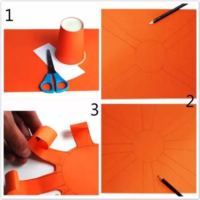一个圆,再围着圆形画8个长方形,最后剪出图3的形状~-最简单的卡