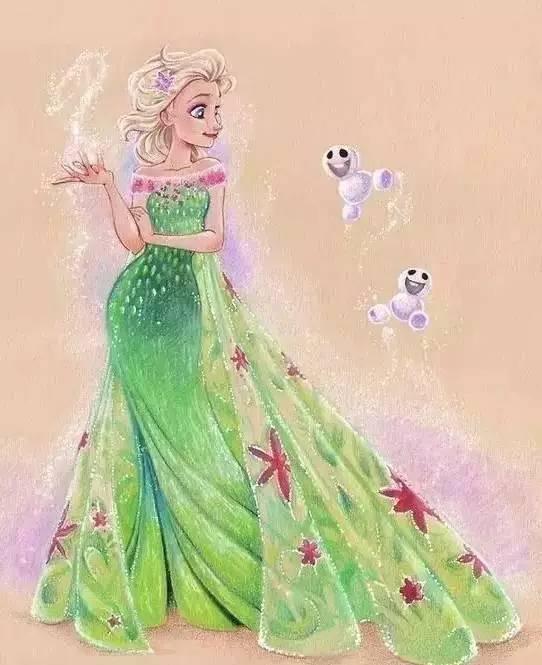 彩铅作品《冰雪奇缘》elsa公主图片