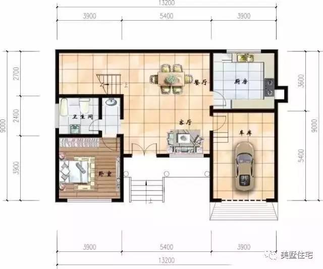 一层平面图:设有1客厅(超大客厅符合农村习俗),1餐厅,1厨房,1卧室(老人房),1卫生间,1车库   占地尺寸:13.3米x9米   在农村里建房我个人觉得堂前是比较讲究的一方面,一定要足够的宽敞,因为在农村里的一些喜事总是要办酒席,如果堂前太小,过年过