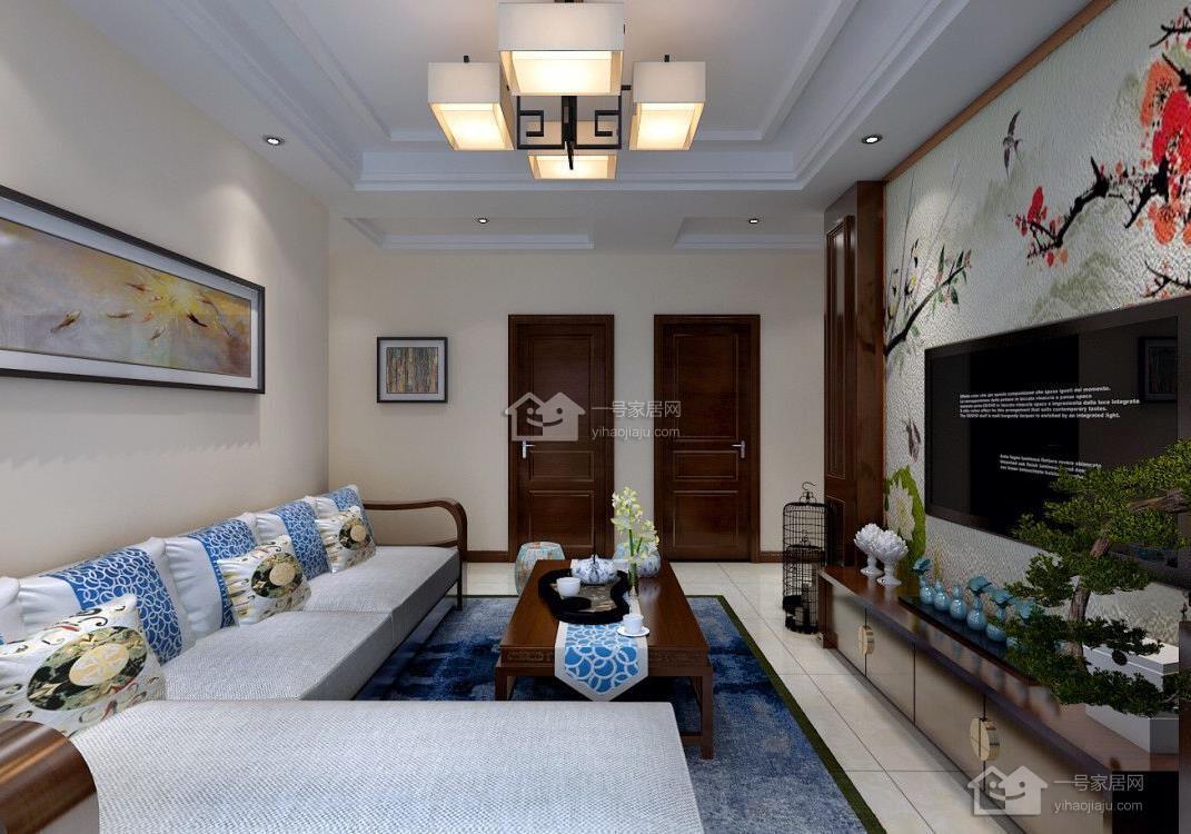 工程楼盘:襄轴家园 建筑面积:110 所属户型:三室两厅 设计风格:新中式图片
