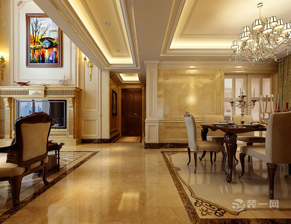 女客户喜欢欧式风格家居,浅色基调,满墙白色护墙板,挑空部分的石材都图片