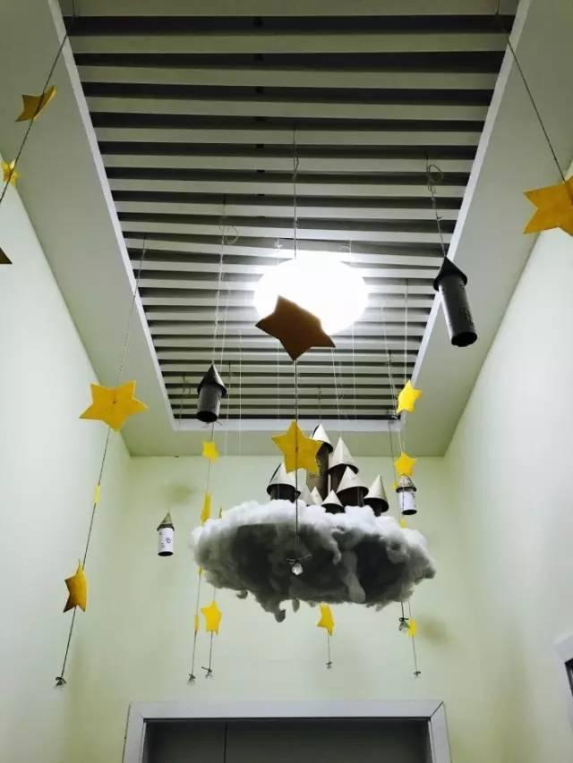 花样吊饰 以星星和云彩为元素,挂在空中,仿佛置身在美丽的星空下图片