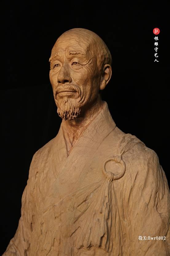 李叔同弘一法师肖像雕塑根雕