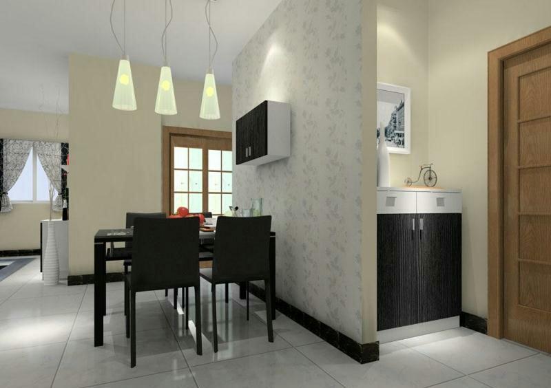 餐厅背景墙,餐桌,灯,屏风的使用图片