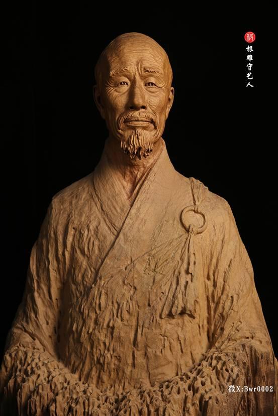 李叔同弘一法师肖像雕塑木雕