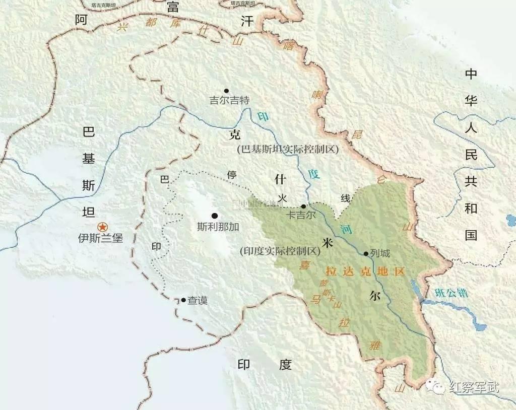 印度占中国藏南地图