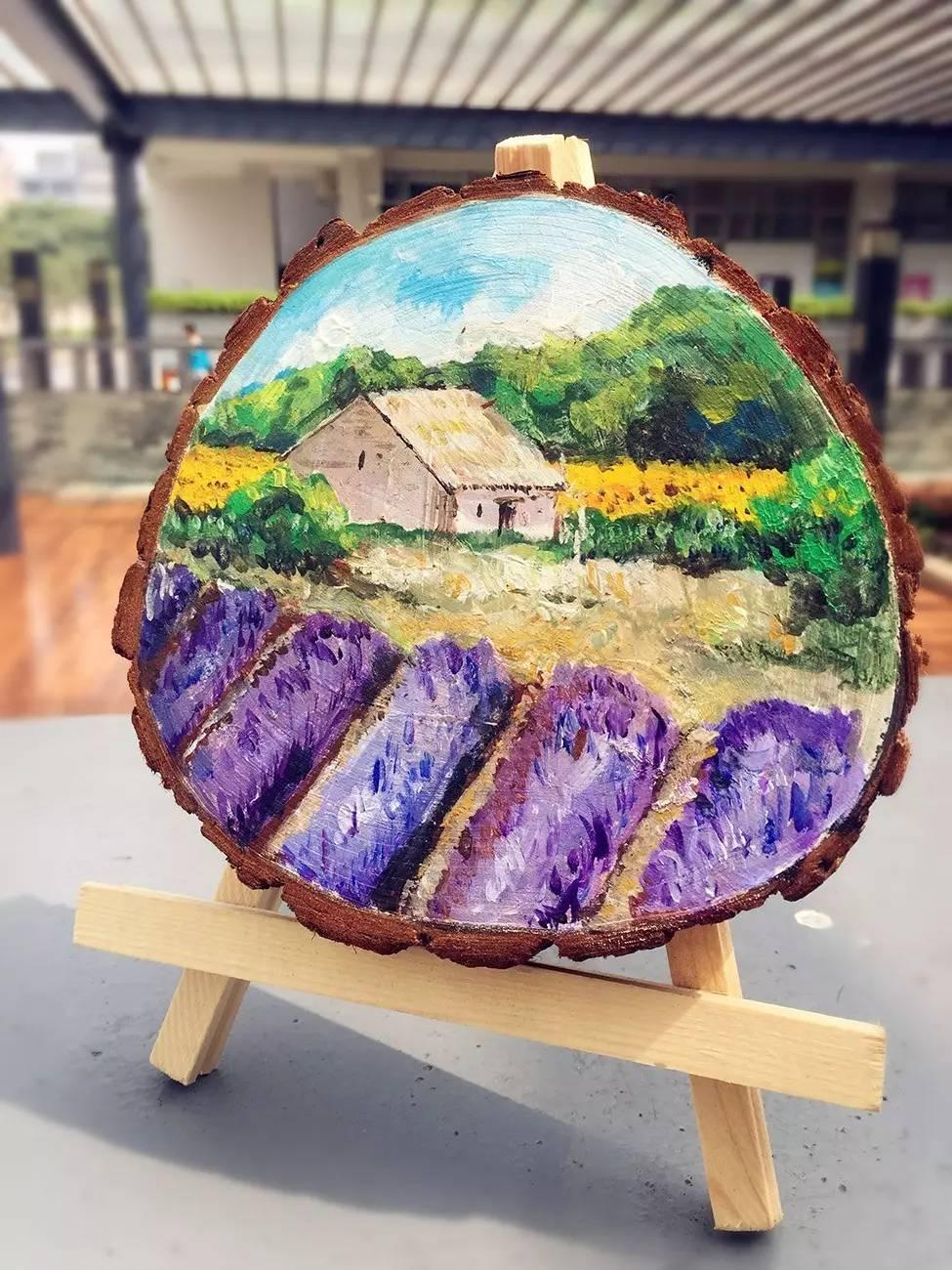 圆木头画创意绘画