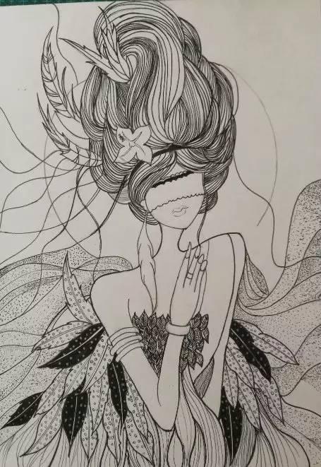 大鱼海棠色粉手绘,简洁又唯美!