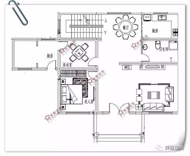 小饭店长方形平面图