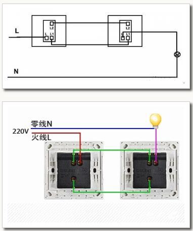 三,双联双控开关接线图(含原理和接线方法) 1,双联双控开关接线图