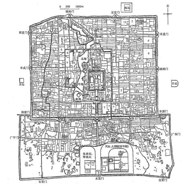 隆年间北京城平面图 图片来源:中国建筑史