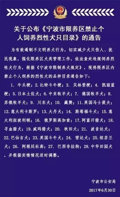 宁波人注意了!这28种烈性犬禁止饲养!