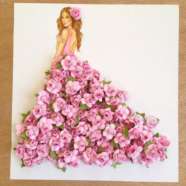 就用剪纸拼接的创意方法将这些组合在一起 设计出世上独一无二的裙子