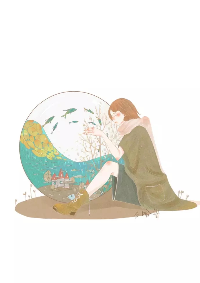 森林系文艺少女手绘插画图片