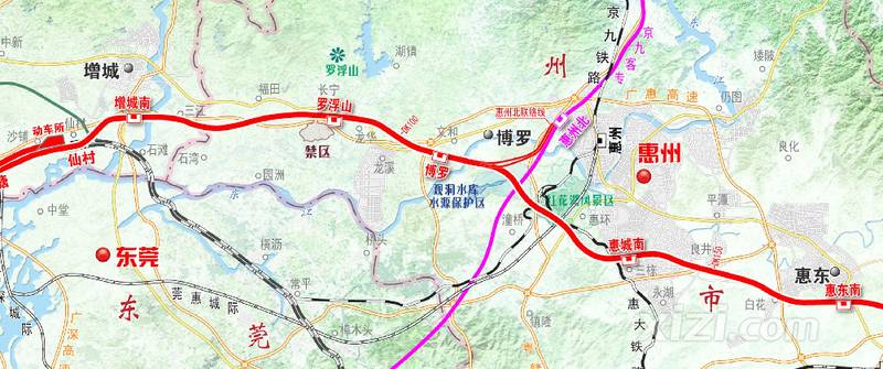 设有罗浮山,博罗,惠州南,惠东南4座车站