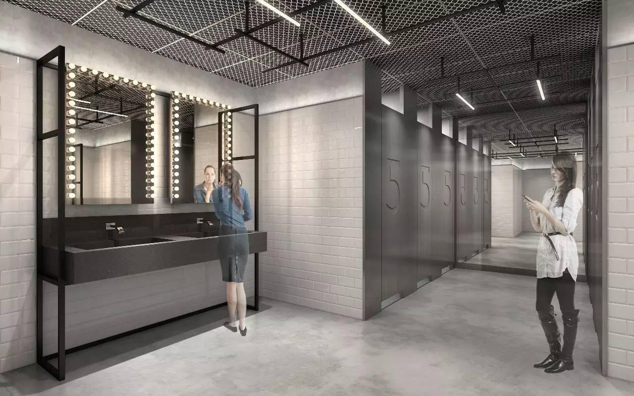 将西座室内的设计元素引入西座卫生间,形成统一的先锋工业风.图片