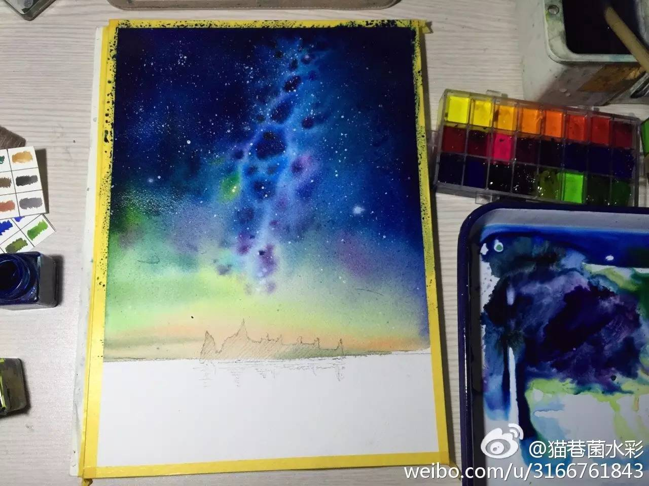 水彩步骤 美丽的星空原来是这样画出来的