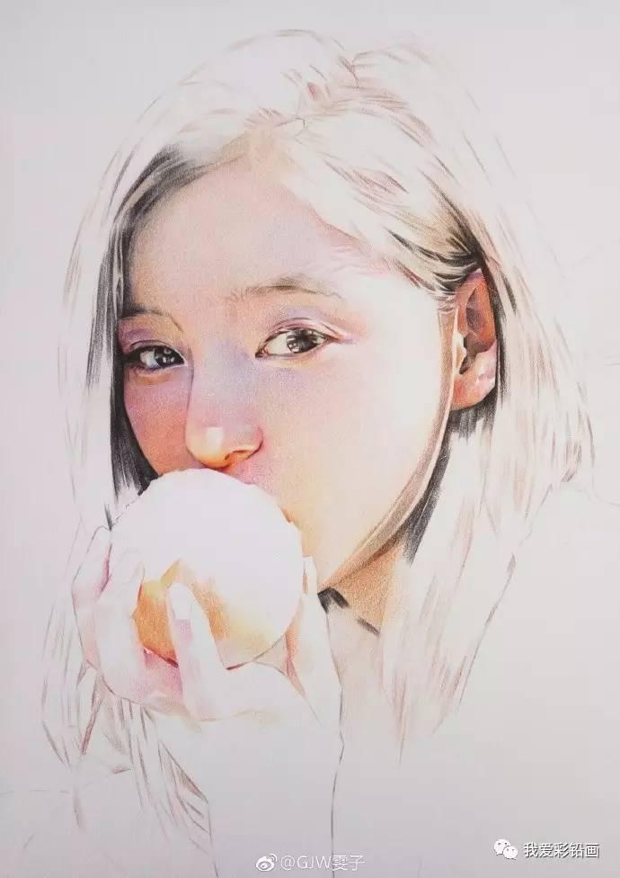 美炸天了!吃橙子的美女~彩铅手绘