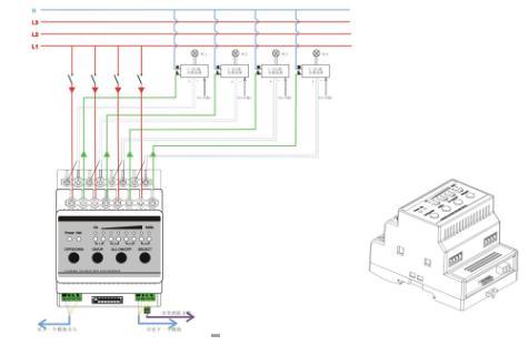 4路继电器开关带0-10v智能调光模块接线图