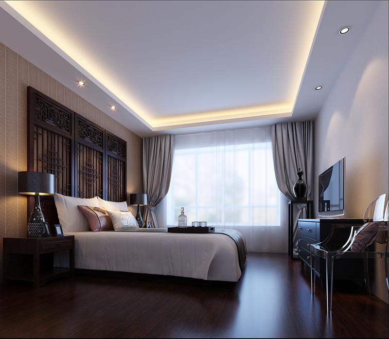 郑州瀚海晴宇新中式180平方3室2厅父母房装修效果图