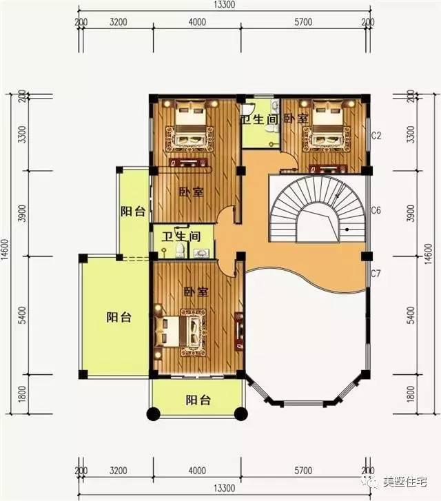 3层经典农村自建房,带旋转楼梯和挑空客厅接地气