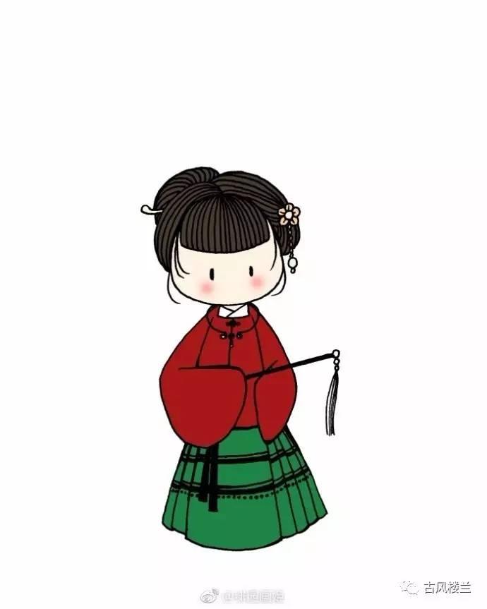 【手绘】汉服q版勾线小人.喜欢就抱走吧