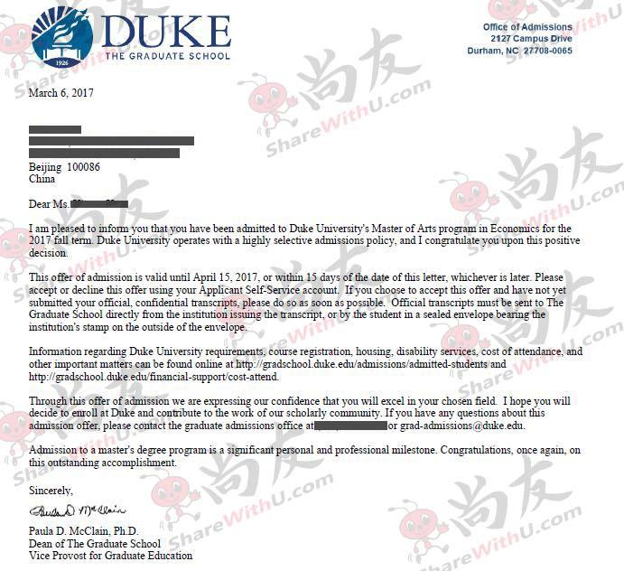 GPA3.7,托福106,GRE326被杜克大学录取