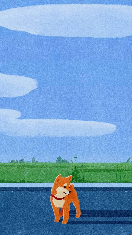 手绘柴犬   手机壁纸
