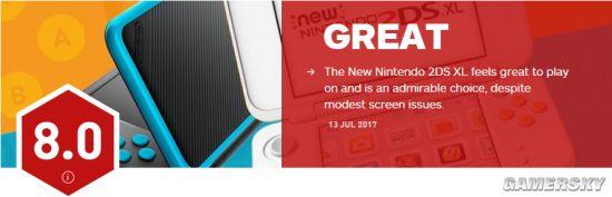 """任天堂新2DS XL IGN 80分:手感棒、屏幕是弱项"""""""