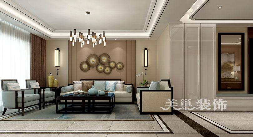 整个空间用别致的中式风来设计,美巢装饰本案,电视背景墙的水墨云石图片