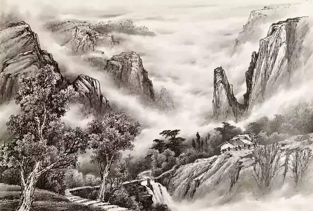 画30多年,其山水画作品《溪深树密瀑水长》还获得了四川国资委的