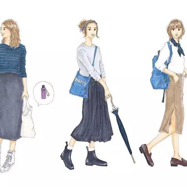 时尚 正文  著细腻的手绘插画,学会日本时髦女孩的ootd saeko擅长利用