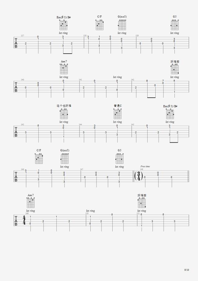 【吉他谱】faded指弹曲谱