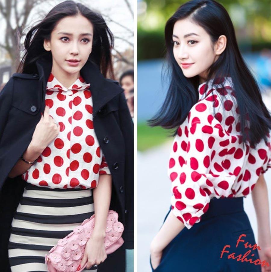 景甜和Angelababy不惜撞衫也要穿的波点衬衫到底有多时髦? 服饰潮流 图6