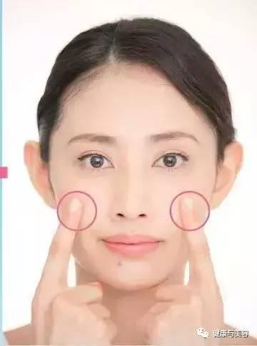 左右两手的食指肚分别放在两侧脸颊骨上,在下一步张嘴大笑时,这个部位