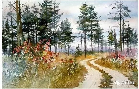 画家妮塔恩格尔风景水彩画作品赏析
