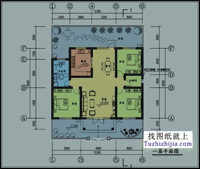 建筑结构:砖混结构 平面功能介绍: 一层:卧室(3个),厨房,餐厅,卫生间1图片