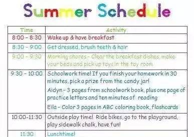 美国家长都用这6张孩子暑假计划表 ,赶紧收藏起来图片