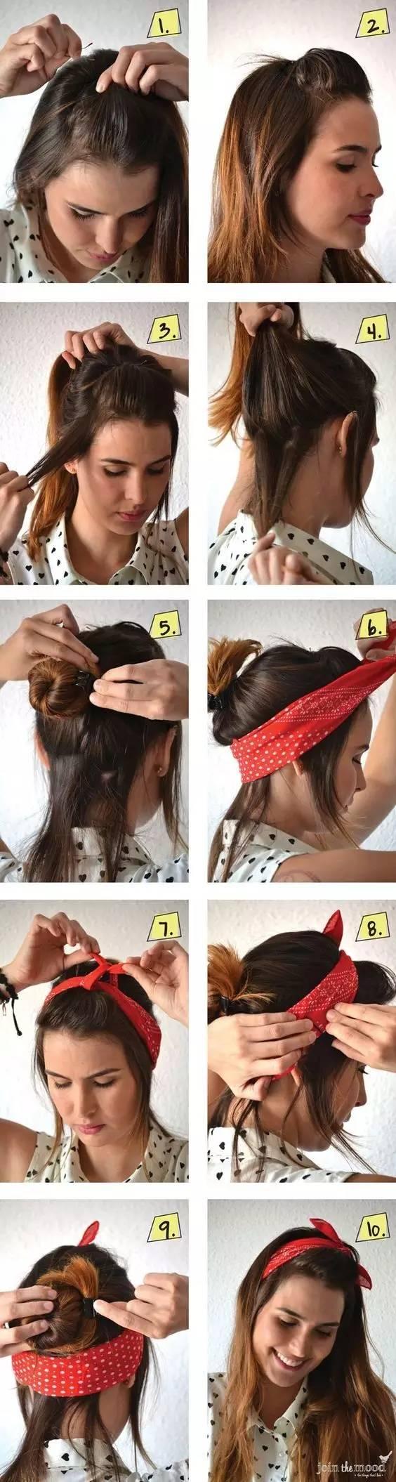 如上图所示,先固定发带,再用头发缠绕成公主头的样式.